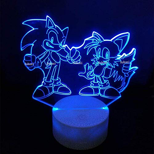 Night Light Sonic Action Figure 3D Table Lamp Led Changing Anime The Hedgehog Sonic Miles Model Toy Lighting Home Decor Christmas Gifts