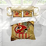 Washi-ngton Red-Skins Printed Decorative Bedding American Football All Season Quilt Set Wrinkle, Fade, Stain Resistant with Four Corner Straps Queen Size