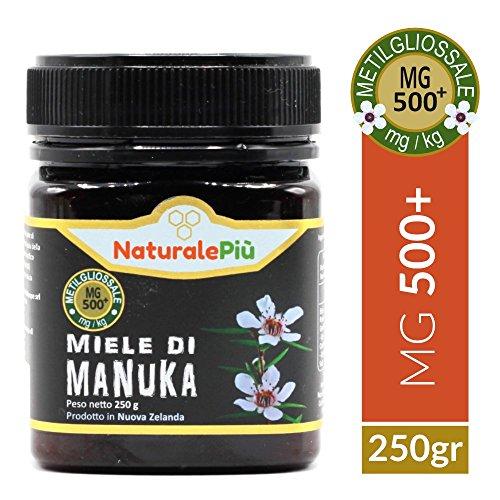 Miele di Manuka 500+ MGO (UMF 15+) 250 gr   Prodotto in Nuova Zelanda, Attivo e Grezzo, Puro e Naturale al 100%   Metilgliossale Certificato   Proprietà Antibatteriche, Migliora le Difese Immunitarie.