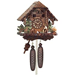 River City Clocks Eight Day Cuckoo Clock Cottage, Man Chopping Wood