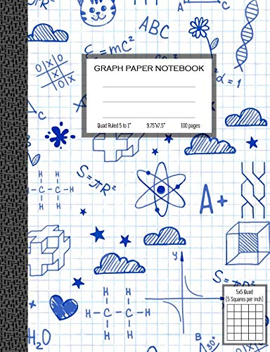 Graph Paper Notebook, Quad Ruled 5 squares per inch: Math and Science Composition Notebook for Students (Graph paper notebooks)