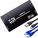 E-SDS 4K HDMI Video Capture Card HDMI to USB3.0 Game Capture Card 4K@60Hz HDMI Input and Loop Out, 4K30Hz or 1080p 60fps Game, Video Recording and Live Streaming