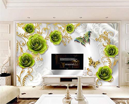 SHANGZHIQIN 3D Photo Wallpaper Embossed Murals Wallpapers Bedside Wall Paper, Green Flower Butterfly Effect