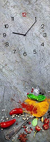STYLER Wanduhr aus Glas, Glasuhr, Rechteckig vers. Motive 20 x 60 cm (Silver Spoon)