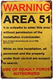 ERLOOD Warning Area 51 Metal Tin Sign Decorations Vintage Garage Poster Art Wall Decor12 x 8