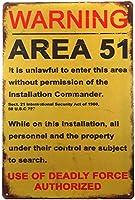 ERLOOD 警告エリア 51 メタル 錫 サイン 装飾 ビンテージ ガレージ ポスター アート 壁 装飾 12 x 8