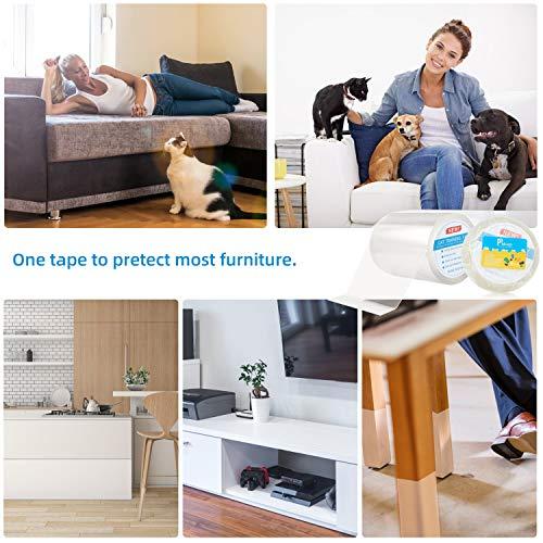 Pidsen Protezione Graffi Gatto, 15X1000 CM Nano Nastro da Addestramento per Gatti, Autoadesive Trasparente PVC Anti-Graffio Protector per Gatti e Cani, Protezione per Divano e Mobili