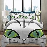 Ropa de cama Juego de funda nórdica Ojo con cierre de cremallera Cara ultra suave y cómoda de un adorable gato siberiano Ojos verdes y bigotes Juego de cama decorativo de 3 piezas con animales vigilan