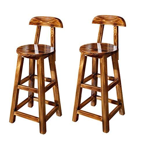 PLLP Bar, cafetería, silla de restaurante, taburete de bar antiguo retro, silla de mostrador, taburetes altos de madera maciza, silla antigua de restaurante de cocina, 65 cm de alto color carbonizado