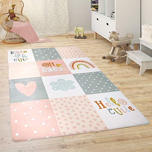 Paco Home Alfombra para Habitación Infantil Juegos Bebé Animales Arco Iris Corazón, tamaño:155x230 cm, Color:Rosa