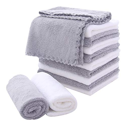 Microfiber Facial Cloths Fast Drying Washcloth 12 pack - Premium Soft Makeup Remover Cloths - Highly Absorbent