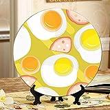 Huevos fritos Tostadas Pan Tomate Platos decorados Plato de cerámica Plato oscilante para el hogar con soporte de exhibición Decoración Platos de cerámica únicos para el hogar