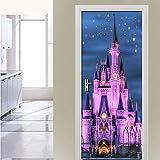 Starry Sky Castle, habitación de los niños, Dormitorio, Puerta, Pegatina, Creativo, DIY, Autoadhesivo, Mural de Pared, Papel Tapiz Impermeable A1 95x215cm
