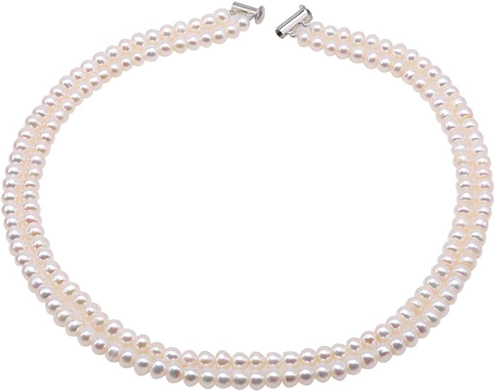 JYXJEWELRY Classic Double Strand Pearl 6-7mm Whi Ranking TOP3 Bread Necklaces Milwaukee Mall