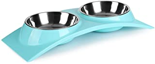 nonbrand Paragon Double Small Dog Bowls Premium Stainless Steel Food and Water Bowls for Cats, Dual Use pet Feeder with St...