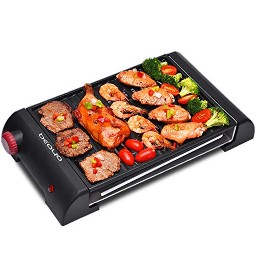 Tapanyaki Grillplaat met anti-aanbaklaag, rookvrije grill elektrische grill, multifunctionele elektrische grill, camping, outdoor, tuin, barbecue, BBQ gebruiksvoorwerp