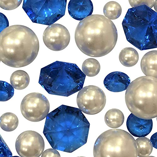 120 Floating Royal Blue Sparkling Gems & White Pearls - No Hole Jumbo/Assorted Sizes Vase Decorations and Table Scatter + Includes Transparent Water Gels for Floating The Pearls