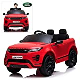Kids Ride On Cars with Remote Control, 12V Licensed Range Rover Electric Vehicle with Bluetooth, MP3, Radio, LED Lights, Openable Doors, Four Wheels Spring Suspension, Red