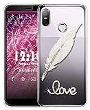 Sunrive Für HTC U12 Life Hülle Silikon, Glitzer Diamant Strass Transparent Handyhülle Schutzhülle 3D Etui handycase Hülle (Feder) MEHRWEG