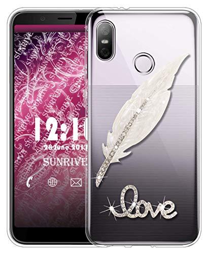 Sunrive Für HTC U12 Life Hülle Silikon, Glitzer Diamant Strass Transparent Handyhülle Schutzhülle 3D Etui handycase Case (Feder) MEHRWEG