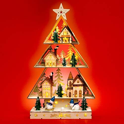 SIKORA LB85 beleuchteter LED Holz Weihnachtsbaum Schwibbogen WINTERDORF