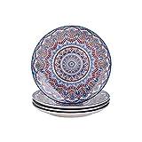 vancasso Mandala Set di Piatti in Porcellana 4 Pezzi Servizio di Piatti Piani in porcellana di alta qualità Servizio Combinato Piatti da Pizza di Stile Bohémien per 4 Persone Ø 27 cm Colore Turchese