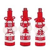 TOSLEJF Cubierta de la botella de vino de Navidad de punto Elk...