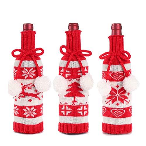 TOSLEJF Cubierta de la botella de vino de Navidad de punto Elk Tree Patrón de copo de nieve Decoración de la cocina del hogar Botella Cubierta a prueba de polvo Navidad 2021 Año nuevo