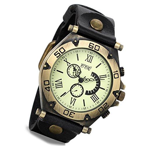 Lancardo orologio da polso con cinturino in pelle nera con quadrante numeri romani per uomo donna, movimento di quarzo, retro, classico