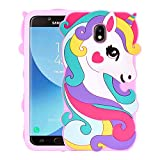 Allsky Case for Samsung Galaxy J7 2018/J7 Refine/J7 Star 2018/J7 Crown,Cartoon Soft Silicone Cute 3D Cool Cover,Kawaii Unique Kids Girls Teens Animal Character Cases for Galaxy J7 2018 Vivid Unicorn