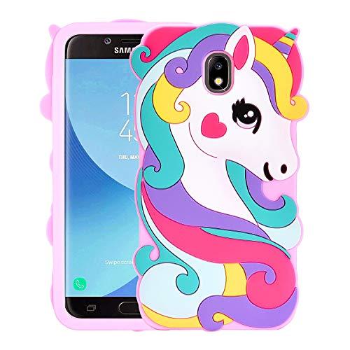 Allsky Case for Samsung Galaxy J7 2018/J7 Refine/J7 Star 2018/J7 Crown,Cartoon Soft Silicone Cute 3D Cool Cover,Kawaii Unique Kids Girls Teens Animal Character Cases for Galaxy J7 2018 Vivid Unicorn