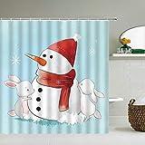 Duschvorhang mit Weihnachtsmotiv, Schneemann, Weihnachtsmann, 3D-Badezimmervorhang, wasserdicht, 180 x 180 cm