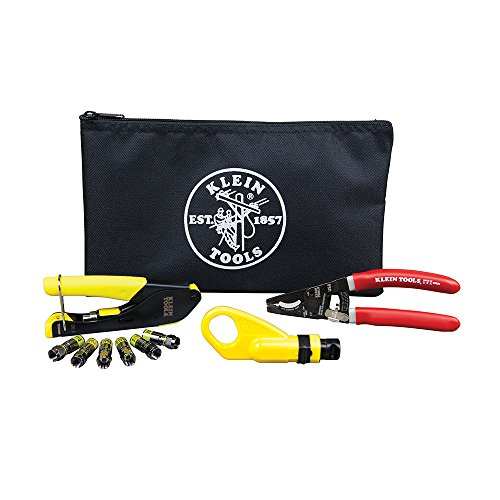 Klein Tools VDV026-211 Coax Installation Kit with F Connectors, Cable Cutter, Compression Tool, Stripper, More