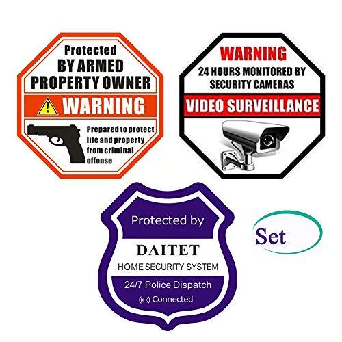 Front Self Adhesive Vinyl Outdoor Indoor Protected by Armed Property Owner Home Business Window Door Gun Handgun Warning Alert Video Surveillance Sticker Decals Set (Stiker Set)