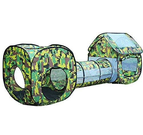 3-in-1 Kinder-Spielzelt, Tunnel, Camouflage, Spielzeug, Zelt, Baby, quadratisch, Cubby Tipi, Tunnel, Krabbelzelt, Sets für drinnen und draußen.