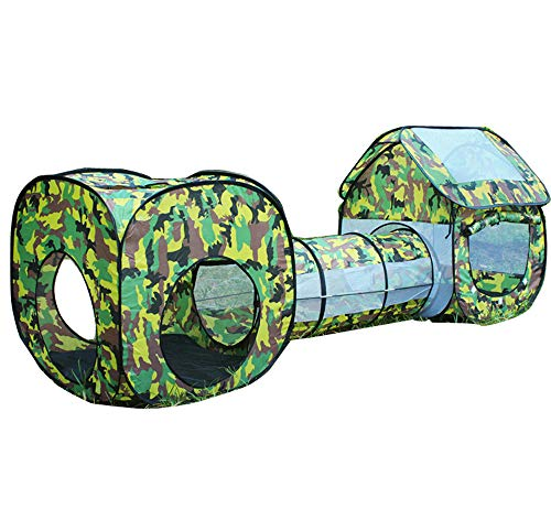 3 in 1 Kids Play Tent Tunnel Camouflage Toys Tent Baby Square Cubby Teepee Tunnel Crawling Tent Sets Children Outdoor Indoor Playhouse Hut