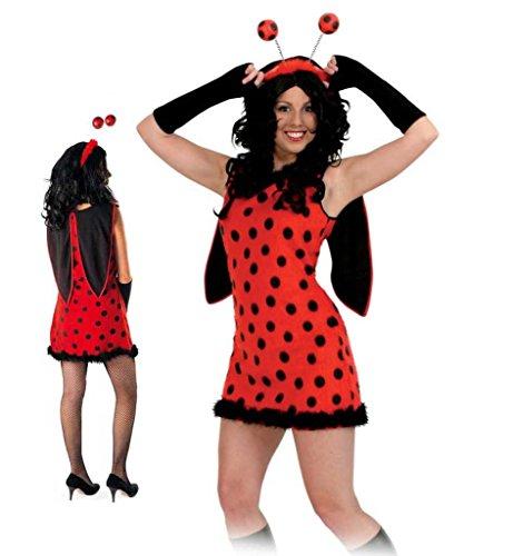 KarnevalsTeufel Damen-Kostüm Flotter Käfer, Marienkäferkleid mit Flügeln rot-schwarz (44)