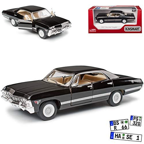 Kinsmart Chevrolet Impala Sport Sedan Limousine Schwarz bekannt aus Supernatural Join The Hunt 1965-1970 ca 1/43 1/36 Modell Auto