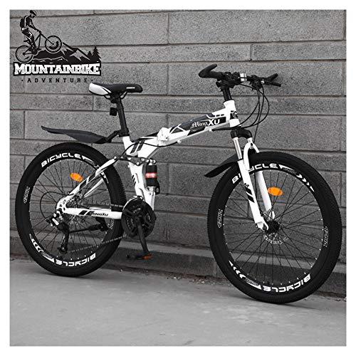 NENGGE Bicicleta Montaña 24 Pulgadas Doble Suspensión para Adulto Hombre Mujer, 21/24/27 Velocidades Plegable Bicicleta BTT con Freno Disco, Marco Acero Alto Carbono MTB,White Spoke,21 Speed
