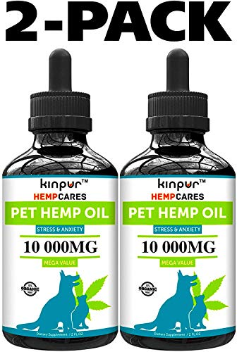 Kinpur (2 PACK | 20 000MG) Hemp Oil for Dogs & Cats - Anxiety Relief for Dogs & Cats - Pet Hemp Oil - Supports Hip & Joint Health - Made in USA - Natural Relief for Pain - Omega 3, 6 & 9
