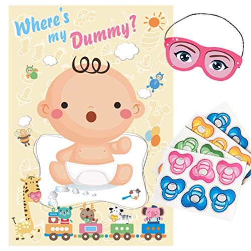 ADJOY Pin The Pacifier on The Baby Game - Baby Shower Party Favors and Game - Pin The Dummy on The Baby Game