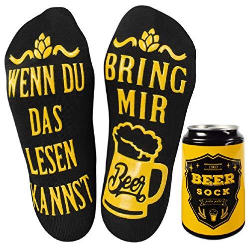 UMIPUBO Bier Socken Lustige Socken WENN DU DAS LESEN KANNST BRING MIR BEER Fun Socken Wintersocken Knöchel Socken Lustiges Geburtstagsgeschenk für Männer