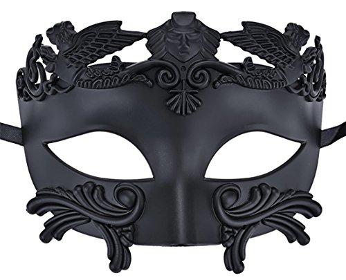 Flywife Herren Maskerade Maske Römisch Griechisch Party Maske Mardi Gras Halloween Maske (Schwarz)