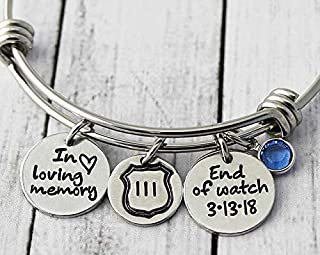 Personalized End Of Watch Police Memorial Bracelet