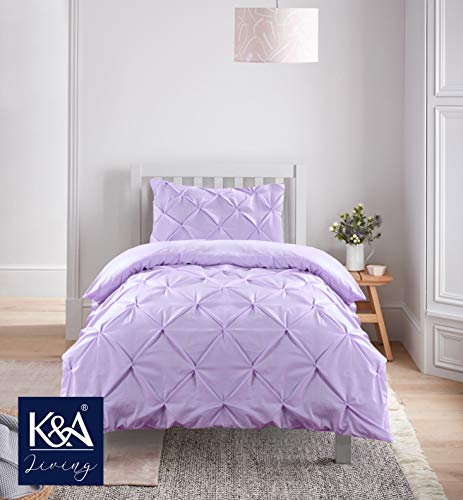 K&A Pintuck Pinch Pleat Duvet Cover Bedding Set including 1 Pillowcase with Zipper Closure, Easy Care Machine Washable, Poly-Cotton Blend (Single, Purple/Lilac)