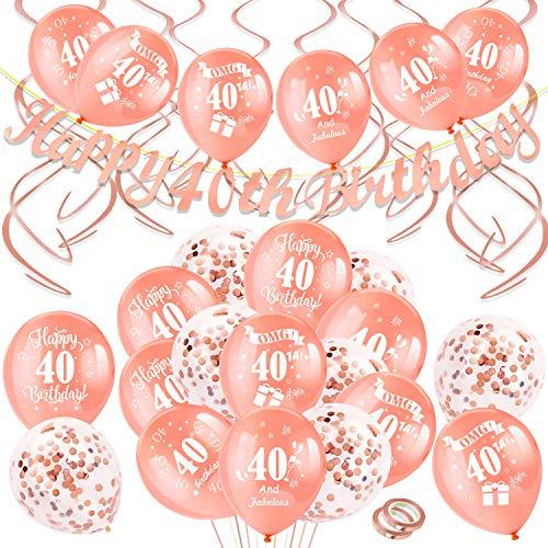 HOWAF Geburtstag Dekoration Set, 40 Geburtstag Party Deko, Rose Gold 40 Geburtstagsdeko Banner, Girlande und 40 Geburtstag Luftballons Latex Konfetti Ballons für Frauen Geburtstag Dekorationen