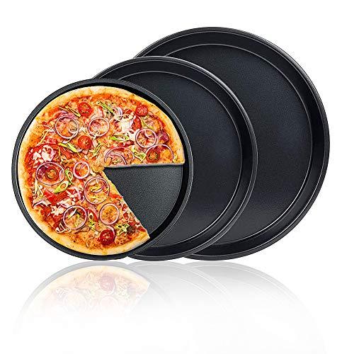 FANDE 3er Set AntiFANDE Plaque à Pizza, Plaque à Pizza Ronde en Acier au Carbone Antiadhésif, Base Plate, Cuisson Plaque Pan Pizza avec Binaural Round Pizza Moule, Ensemble de Moules à Gâteau (3 Pièce