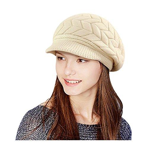 Fortuning's JDS® Fortuning's JDS® Damen Winter Warmer Woll Strick-Masken-Hut-Kappen mit Visier