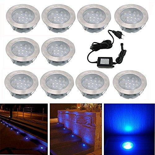Spot Encastrable LED pour Terrasse,Mini Spot Encastré en DC12V IP67 Etanche Ø60mm Acier Inoxydable Exterieur luminaire,Eclairage pour Jardin,Couloir (Bleu, 10 KIT)