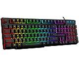 RGB Wired Gaming Keyboard,CHONCHOW Rainbow LED Backlit Keyboard USB Ergonomic Mechanical Feeling Keyboard